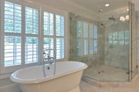 Another view of the master bath tub with vintage telephone style faucet.