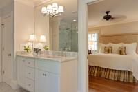 A view into the master bedroom from the bath.  All vanities were custom designed by the builder and homeowner.