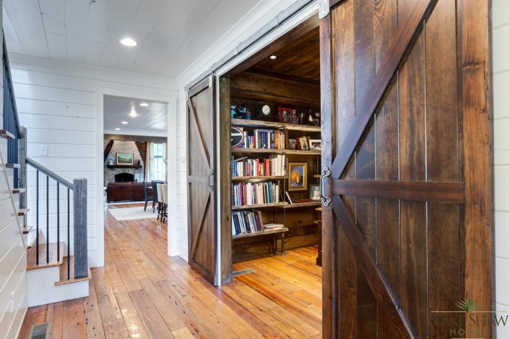 Rustic atlanta farmhouse blake shaw homes atlanta for Barn doors for home office